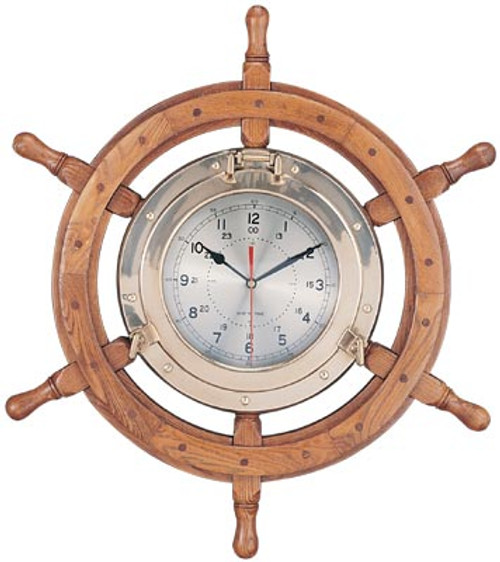 "(TK-2701C) 30"" Deluxe  Wooden Ship Wheel and Brass Porthole Clock"