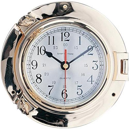 "Porthole Clock with Lacquer Coating - 9"""