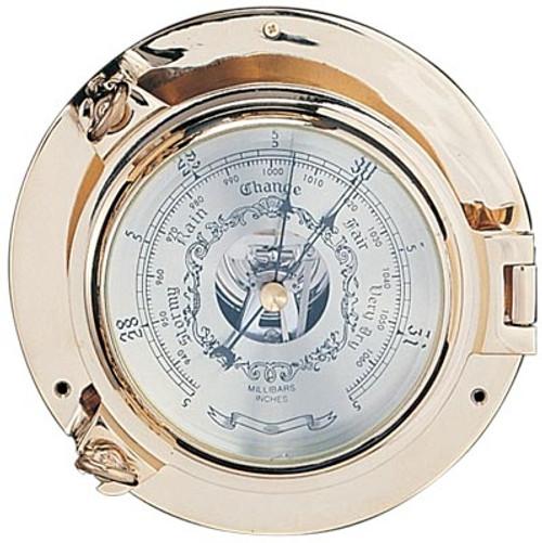 """(TK-234C 9"""") 9"""" Lacquer Coated Brass Porthole Barometer"""