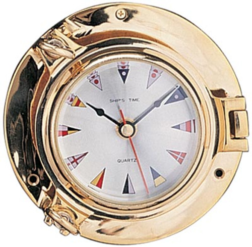 """Porthole Clock with Flag Face and Lacquer Coating - 9"""""""