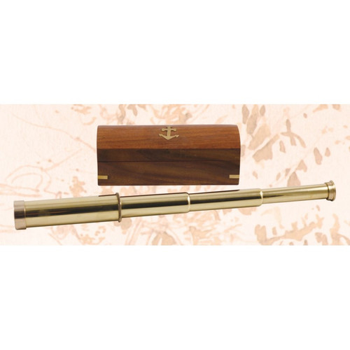 """Brass Telescope with Wooden Case - 14.5"""""""