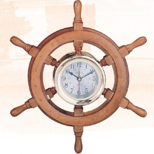 """Captain Wheel Clock with Lacquer Coating  - 30"""""""