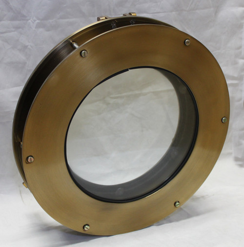 Aluminum Antique Brass Porthole Window w/Adjustable Flange - 15 3/8""