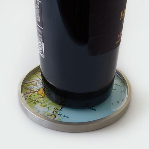 Nautical Bottle Coaster - Pewter - Personalized