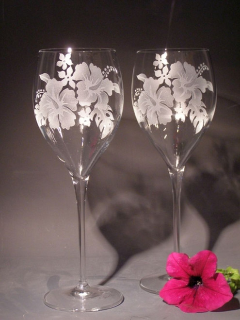 Hand Carved Crystal White Wine Glasses - 11 oz - Set of 2 - Personalized