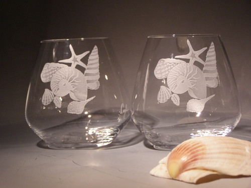 Hand Carved Crystal Stemless Wine Glasses - 20 oz - Set of 2 - Personalized