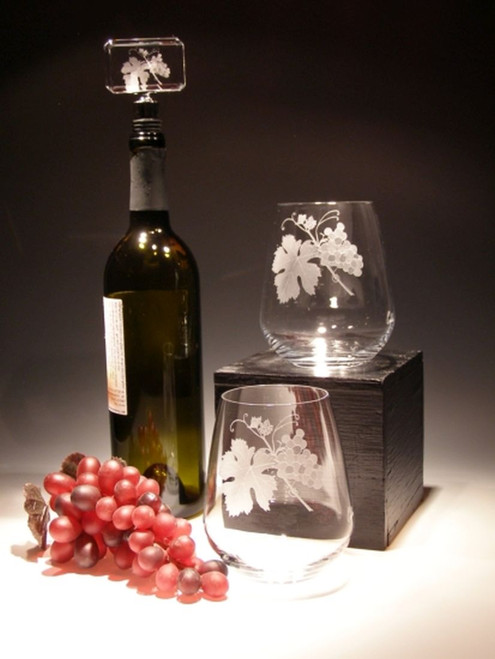 Hand Carved Crystal Stemless Wine Glasses - 23 oz - Set of 2 - Personalized