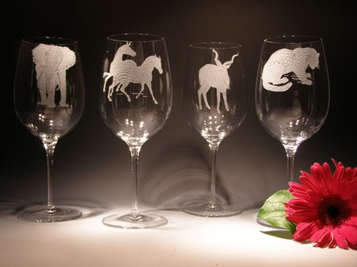 Hand Carved Crystal Wine Glasses - 26 oz - Set of 2 - Personalized