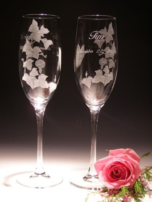 Hand Carved Crystal Champagne Flutes - 8oz - Set of 2  - Personalized