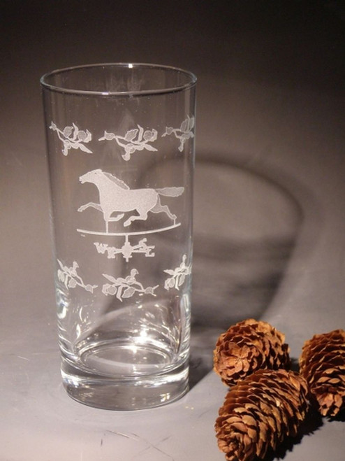 Hand Carved Crystal Marcella Highball Glasses- 16oz - Set of 2 - Personalized