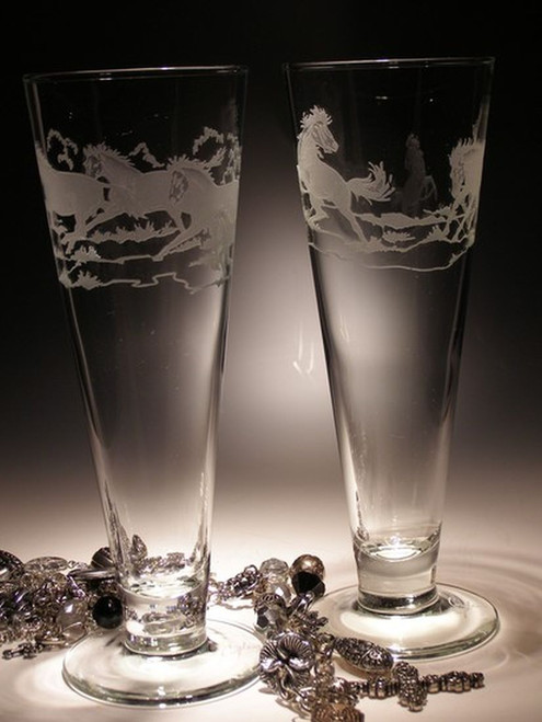 Hand Carved Crystal Pilsner Glasses - 16oz - Set of 2 - Personalized