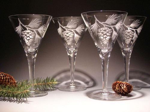 Hand Carved Crystal Martini Glasses - 9oz - Set of 2 - Personalized