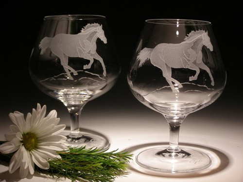 Hand Carved Crystal Brandy Glasses - 13.5oz - Set of 2 - Personalized