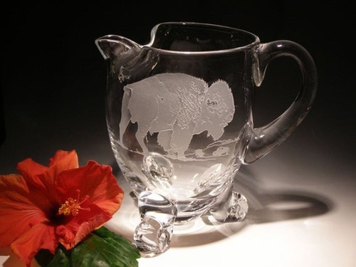 Hand Carved Crystal Footed Pitcher - 18oz - Personalized