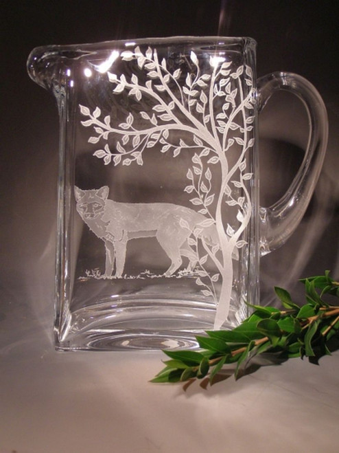 Hand Carved Crystal Square Pitcher - 43oz - Personalized