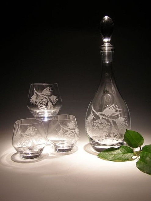 Hand Carved Crystal Wine Decanter - 28oz - Personalized