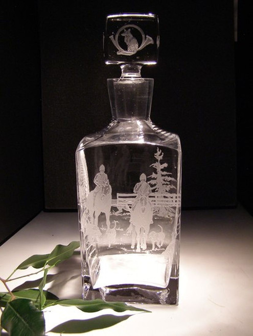Hand Carved Crystal Tall Square Decanter - Personalized