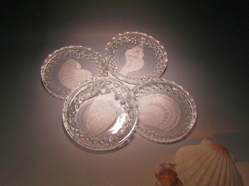 Hand Carved Crystal Round Coaster Set with Base - Personalized