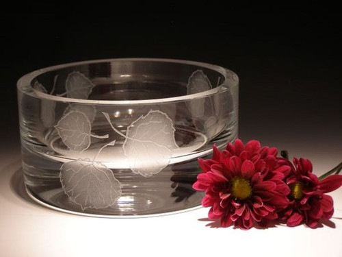 """Hand Carved Crystal Small Bowl - 3"""" x 5"""" - Personalized"""