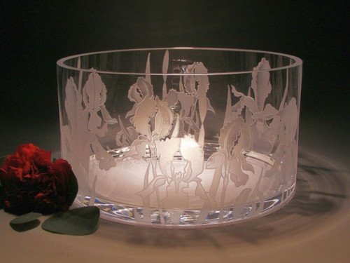 "Hand Carved Crystal Bowl -  10"" x 6"" - Personalized"