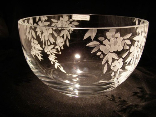 "Hand Carved Crystal Large Round Bowl - 6"" x 10"" - Personalized"