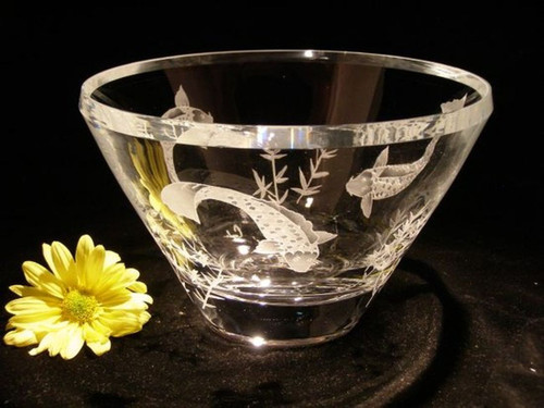 "Hand Carved Crystal Luminous Bowl - 10"" - Personalized"