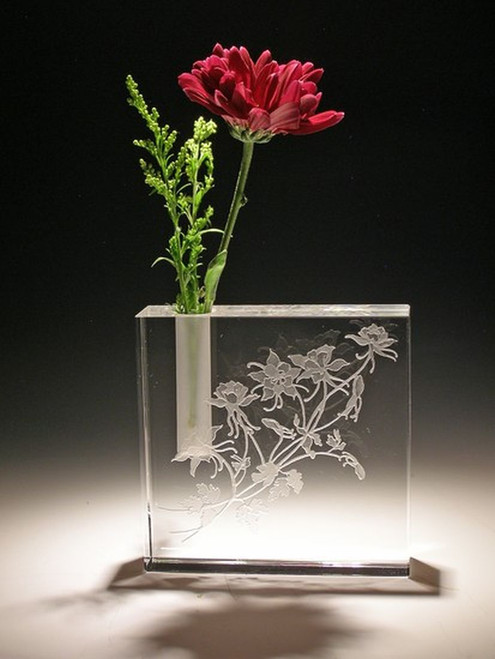 """Hand Carved Crystal Square Bud Vase - 4"""" x 4"""" - Personalized"""