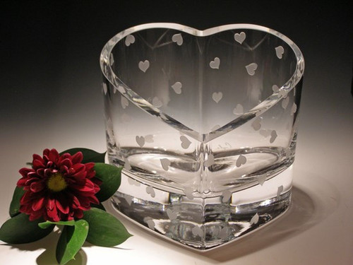"Hand Carved Crystal Heart Vase - 5"" x 6"" - Personalized"