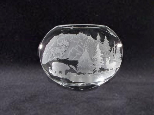 "Hand Carved Crystal Neo Oval Vase - 9"" x 10"" - Personalized"
