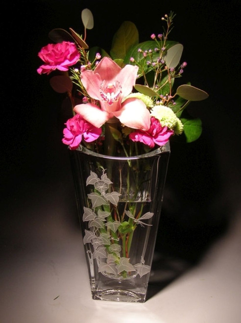 "Hand Carved Crystal Vuelo Vase - 10"" - Personalized"