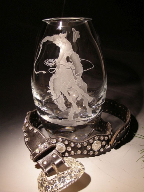"Hand Carved Crystal Oslo Vase - 10"" - Personalized"