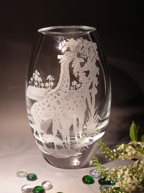 "Hand Carved Crystal Oslo Vase - 11"" - Personalized"