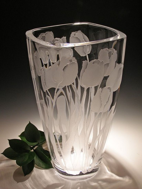 """Hand Carved Crystal Squared Vase - 11"""" - Personalized"""