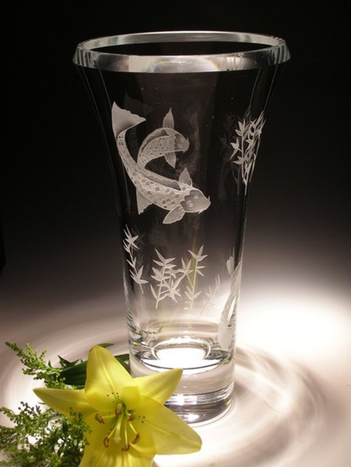 "Hand Carved Crystal Luminous Vase - 11"" - Personalized"