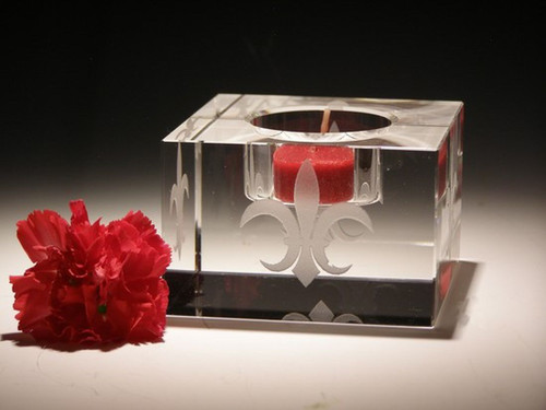 """Hand Carved Crystal Block Votive - 3"""" x 3"""" x 2"""" - Personalized"""