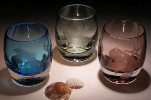 "Hand Carved Crystal Colored Votive Set - 3.25"" - Rose, Lt Blue, Lt Green - Personalized"