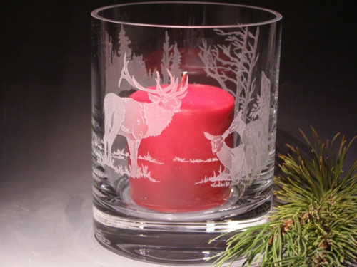"Hand Carved  Crystal Hurricane Votive - 6"" x 4.75"" - Personalized"