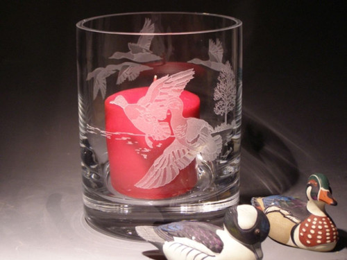 """Hand Carved  Crystal Hurricane Votive - 6"""" x 4.75"""" - Personalized"""