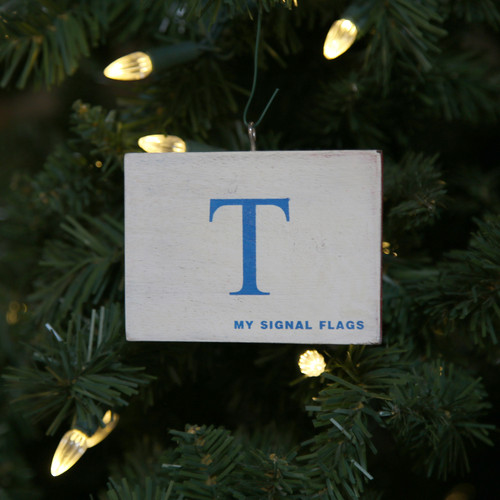 Nautical Signal Flag Ornament - Letter T