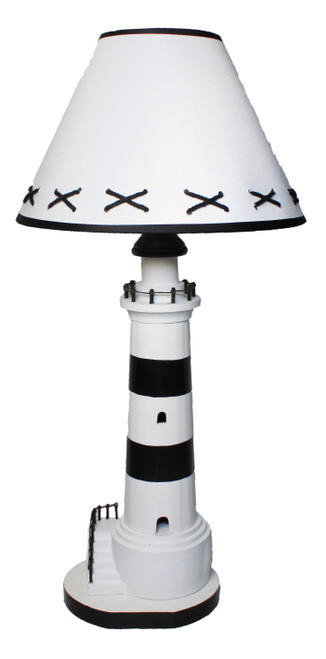 """Wooden Lighthouse Lamp - 16"""""""