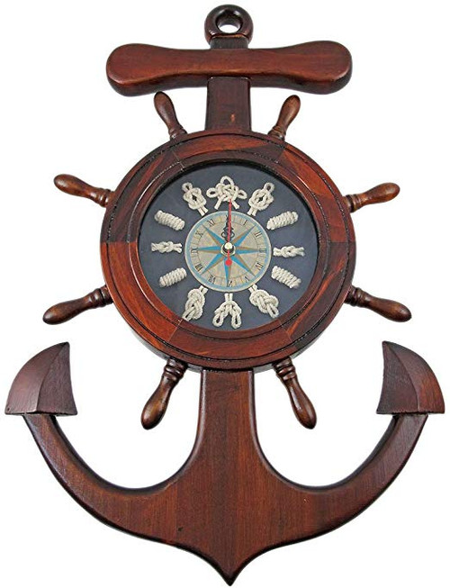 Anchor Knot and Ship Wheel Nautical Wall Clock