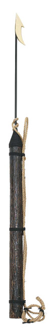 (H-048M) 5 Foot Hand Thrown Harpoon with distressed wood handle, fisherman's rope, and steel blade with toggle