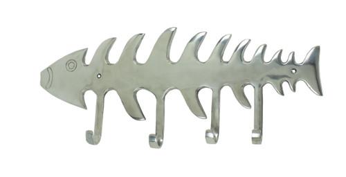 (MAL-185) Extra Large Polished Aluminum Fishbone Rack with 4 Hooks and 2 Screw Holes