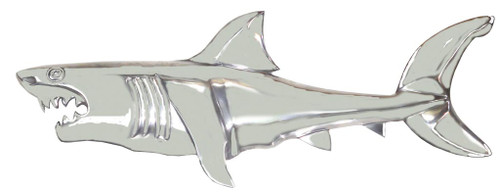 "(MAL-220) Extra Large 38"" Polished Aluminum Shark Plaque, Half Bodied"