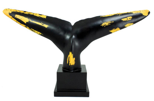 (MR-192) Extra Large Whale Tail Sculpture with Base, Black and Gold