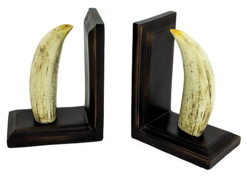 (MR-195) Sculpted Resin Whale Teeth Bookend Set