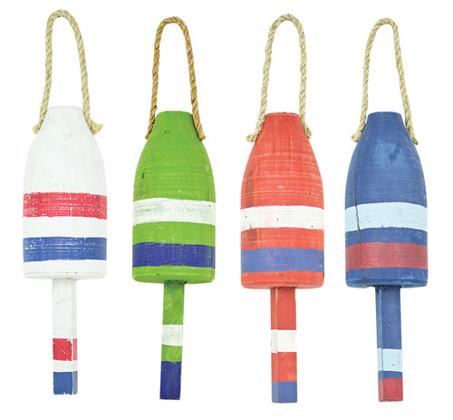 "(MS-225) Set of 4 Medium 13.5"" Distressed Wooden Buoys - White, Green, Red, and Blue"