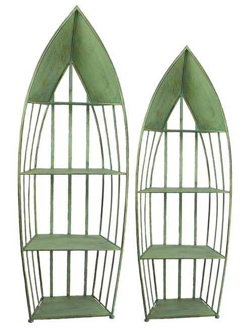 (MS-516) Set of 2 Large Metal Boat Shelves - Green