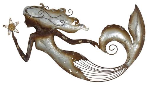 "(MW-623) Large 31"" Galvanized Metal Mermaid with Starfish Wall Decor"