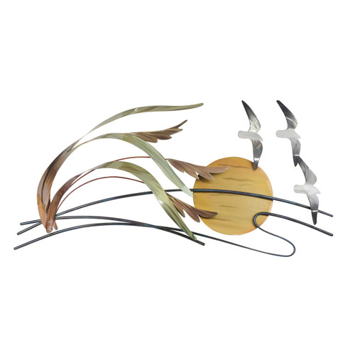 """(CO142) 34"""" """"Seagulls and Sea Oats"""" Stainless Steel Wall Sculpture"""